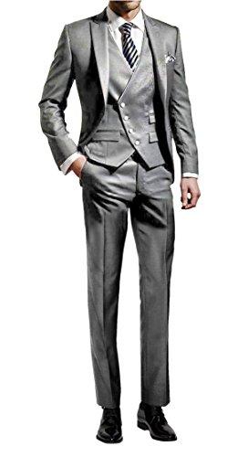 Suit Me Hombres 3 piezas juego delgado fiesta de bodas en forma trajes de esmoquin de chaqueta, chaleco, pantalones Gris