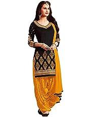 Navya Export Women's Crepe Salwar Suit Dress Material (Black, Free Size)