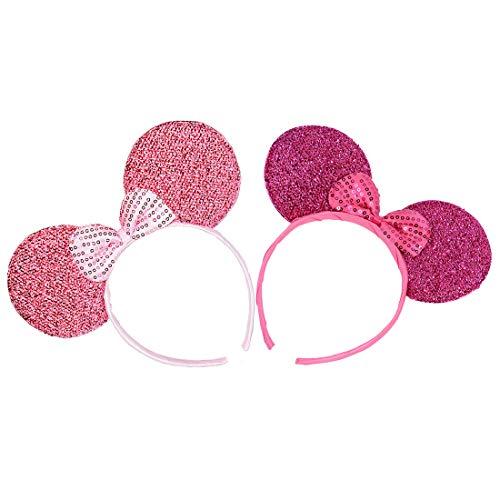 nie Stirnbänder für Geburtstag Halloween Partys Mama Jungen Mädchen Haarschmuck Schöne Maus Ohren Haarreife Dekorationen (Rosa Rose Glitzer Paillette) ()