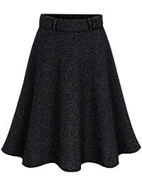 bf08a1e1f9 Falda de Lana de Las Mujeres Cintura Alta Llanura Falda de Color sólido  Dobladillo Irregular hasta la Rodilla Faldas (Color…
