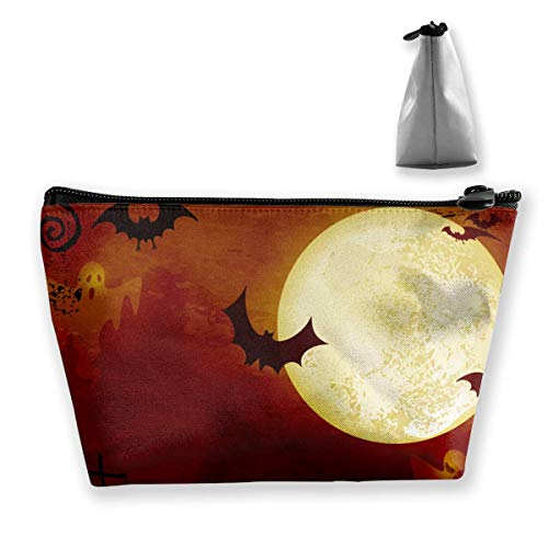 (Spooky Dark Orange Halloween Waterproof Trapezoidal Bag Cosmetic Bags Makeup Bag Large Travel Toiletry Pouch Portable Storage Pencil Holders)