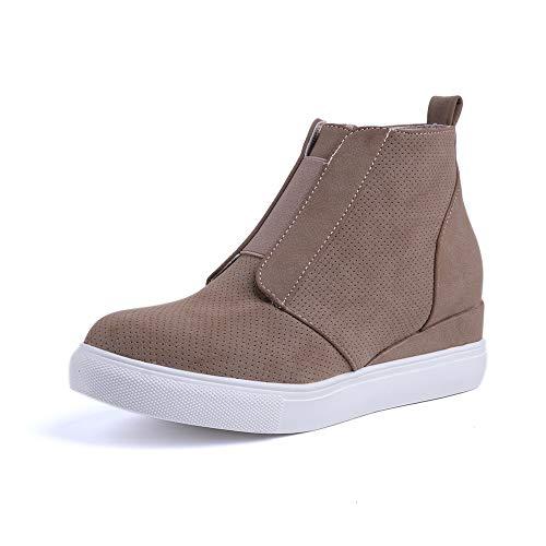 Botines Cuña Mujer Plataformas Zapatillas Botas Wedge Cremallera Cómodo Zapatos de Tacon 5cm Fitness...