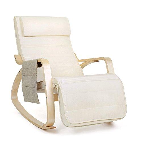 Songmics Sessel Schaukelstuhl 5-fach verstellbare Wadenstütze mit seitlicher Tasche Belastbarkeit 150 kg beige LYY01M
