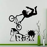 haochenli188 Vélo BMX Freestyle Trick Wall Sticker Vélo Garage Decal de Vinyle Maison Salon Décoration Sport Sticker Autocollant 42x50 cm