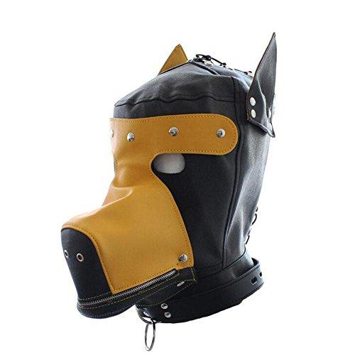 LYM Schwarz Isolationsmaske Leder Full Face Fetisch Hood Maske Bondage Hundemaske Masken Sklaven Erwachsene Sexspielzeug Für Paare Halloween Cosplay , yellow+Leashes