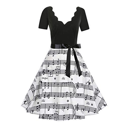 KUDICO Damen Kleid Elegant Print Kleider Vintage Retro Abendkleid Partykleid Cocktailkleider Rockabilly (Schwarz, EU-46/CN-3XL)