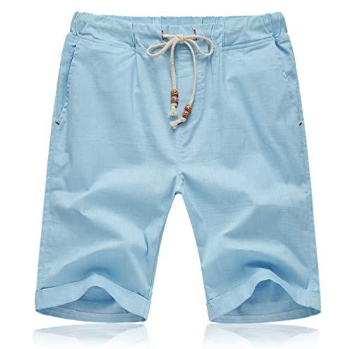 Tansozer Herren Sommer Shorts Baumwolle Casual Klassisch Kurze Hose mit elastische Taille Tasche Kordel(Sky Blue XXL) -
