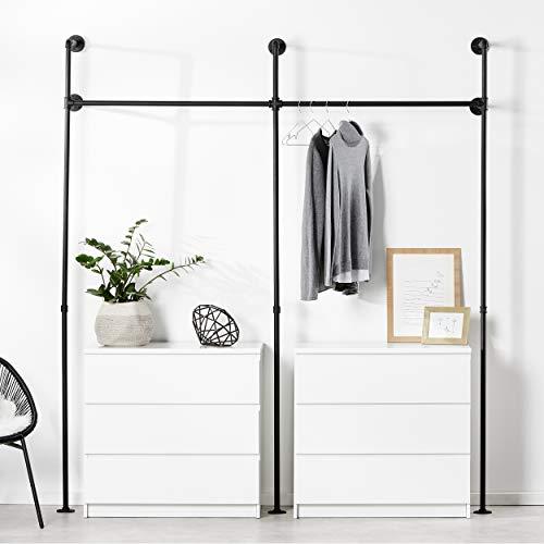 pamo. Kleiderstange im vintage Industrial Design - Kleiderständer für begehbaren Kleiderschrank /Schlafzimmer in urban schwarz aus Wasserrohre - 3 größen wählbar (2 Fach)