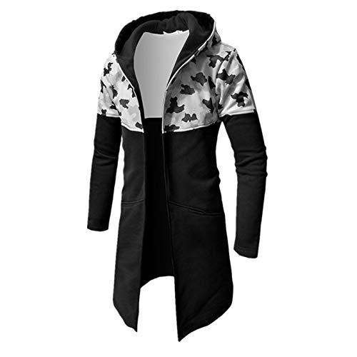 Hoodie Mantel Herren WWricotta Lange Jacke Camouflage Mantel Herbst Winter Casual Warm Langarm Top Bluse Zip Sweater Trenchcoat Lange Strickjacke(Grau,2XL) -