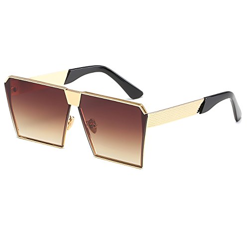 CVOO 2017 Men Oversized Flat Square Sunglasses Women Beach Metal Mirror Lens Sun Glasses