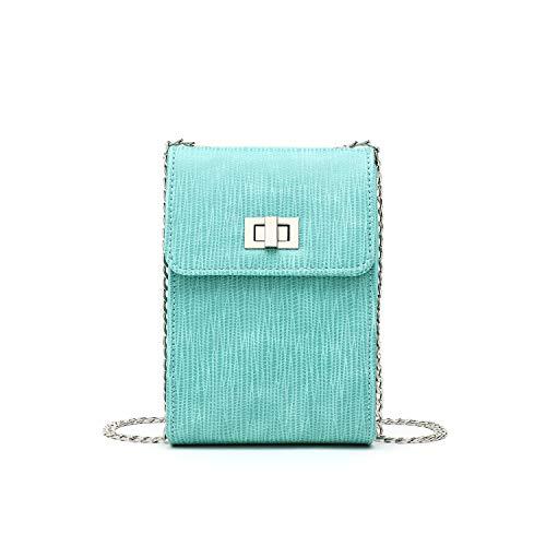 Handtaschen für Frauen Umhängetasche for Frauen Handytasche mit abnehmbarem Metallkettenriemen Design Lizard Print PU Leder YJXUSHYQ (Color : Grün, Size : Kostenlos) -