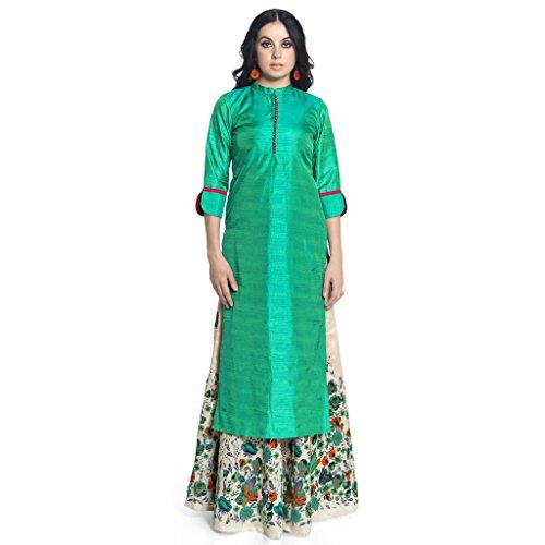 Admyrin-Women-Green-Neo-Silk-Kurta-with-Lehenga