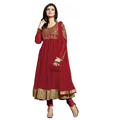 Fashion and Hub Red Cotton Designer Partywear Anarkali Suit