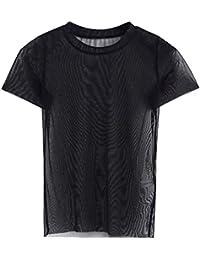 EOZY Femme Fille T-Shirt Top Blouse Mesh Transparent Manche Courte Décontracté