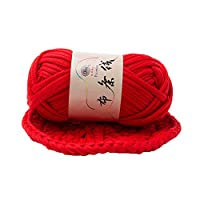 Bath Rugs lansiZD, Hand-knit Woven Thread Thick Basket Blanket Braided DIY Crochet Cloth Fancy Yarn - Red