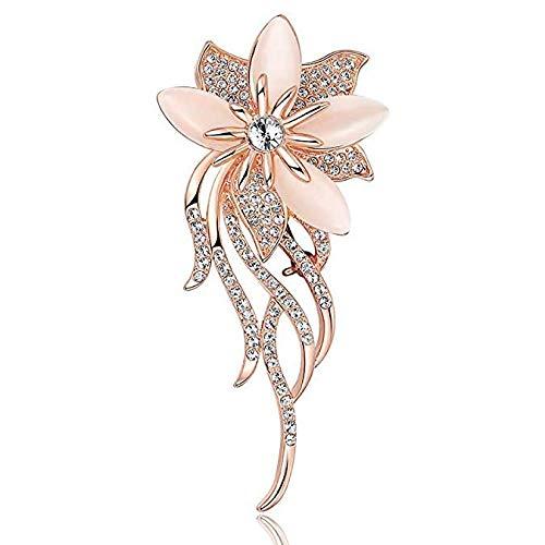 Wayouter spilla da donna spilla da donne elegante, con bouquet, crisoberillo, da sposa (argento)