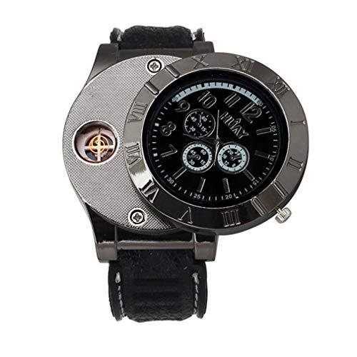 Holeider Quarz Uhr Armbanduhr,Luxus Multifunktions Militär USB Zigarette Zigarre Flammenlos Feuerzeug (Schwarz)