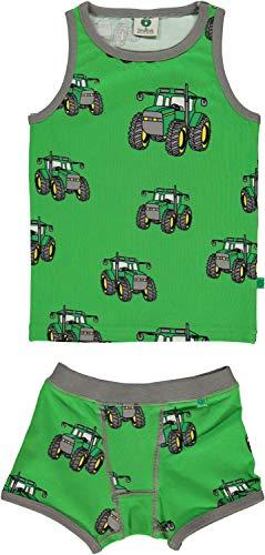 Smafolk Unterwäsche zweiteilig Allover Traktor Print grün Groesse 4-5 Jahre - Jungen Traktor Unterwäsche