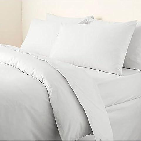 Day & Night Parure de lit en coton égyptien 200fils avec housse de couette et taies d'oreiller, blanc, King