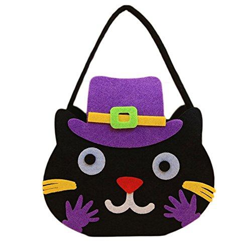Leisial™ Halloween Handtasche Katze Kürbis Tasche Vliesstoffe Süßigkeiten Taschen Halloween Stereo Kürbis Tasche 22*16CM