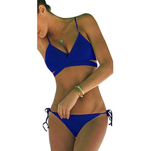 THINKBEST Damen Sport Push Up Wickeln Bikini Sets Bademode Badeanzug Swimwear Swimsuit (Medium, Dark Blau) - Blue Sky Swimwear Wrap