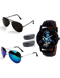 Sheomy Black Sunglasses and Watche Combo for Men Latest Metal Analogue Mahadeva Print Multicolour Dial Black Strap Leather Belt Men's Wrist Watches (3IN001 - MAHADEVA - 002)