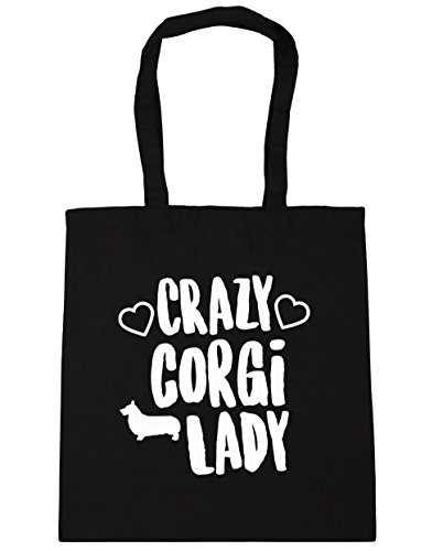 hippowarehouse-crazy-corgi-lady-tote-shopping-gym-beach-bag-42cm-x38cm-10-litres
