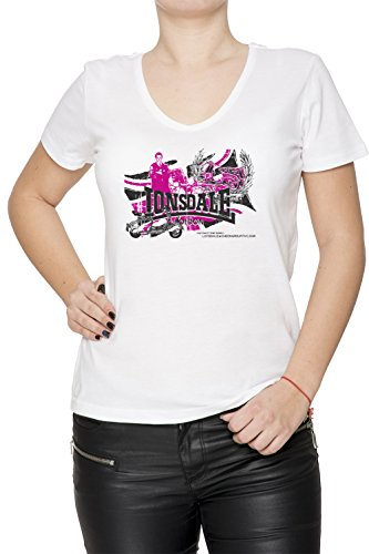 Lonsdale Donna V-Collo T-shirt Bianco Cotone Maniche Corte White Women's V-neck T-shirt