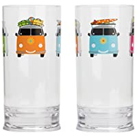 Flamefield Camper Smiles Tall Tumbler Glasses - Pack of 2 - Transparent 7