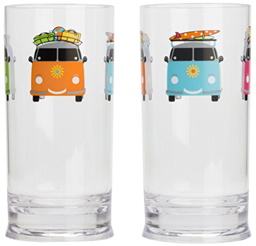 Flamefield CAM694A Camper Smiles Tall Tumbler Glasses - Pack of 2 - Transparent