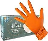 ASAP T-Grip NARANJA Guantes desechables en nitrilo sin polvo, 8.5g de DIAMANTE texturado - Caja de 50 (M)