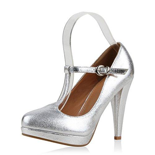 Damen Pumps Mary Janes Blockabsatz High Heels T-Strap Silber