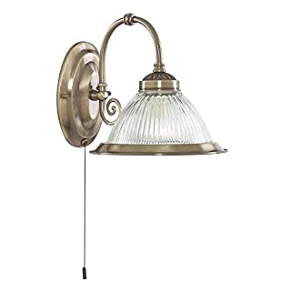 THLC American Diner Antique Brass Single Wall Light with Pull Switch