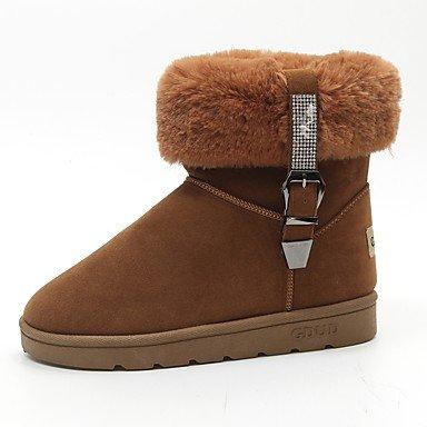 RTRY Scarpe donna pu Fall Winter Snow Boots stivali tacco piatto Round Toe stivali Mid-Calf Lace-Up per Casual marrone chiaro Nero Grigio US6 / EU36 / UK4 / CN36