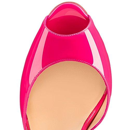 EDEFS Damenschuhe Faschion Bardnera Style 120MM Peep Toe Wölbungs Bügel Abschlussball High Heel Sandaletten Pink