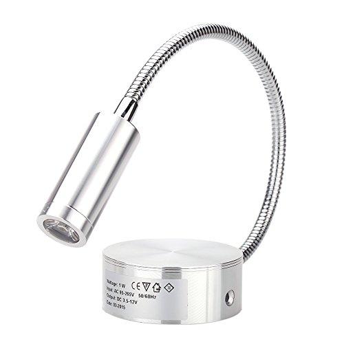 Lixada LED Leselampe 1W Wandbeleuchten Bett Lampen Soft Tube Einstellbar Hintergrund Spiegel Licht flexibles Leselicht ohne Schalter (Led-schwanenhals-wand-lampe)