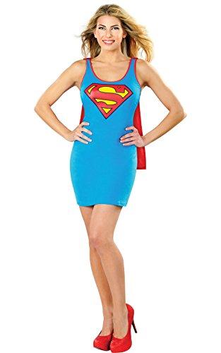 blaues Supergirl Damen Kleid, (Kostüme Frauen Erwachsene Superhelden)
