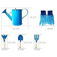 6Pcs Children Kids Garden Tools Watering Can Gardening Shovel Rake Spade Toys - Blue