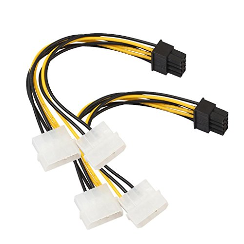 HKFV 18CM Adapter 2PC 8PIN Dual 4PIN Grafikkarte Stromversorgungsleitung Dual Molex 4 Pin auf 8 Pin PCI-E Express Konverter Adapter Stromkabel splitter netzwerkkabel -