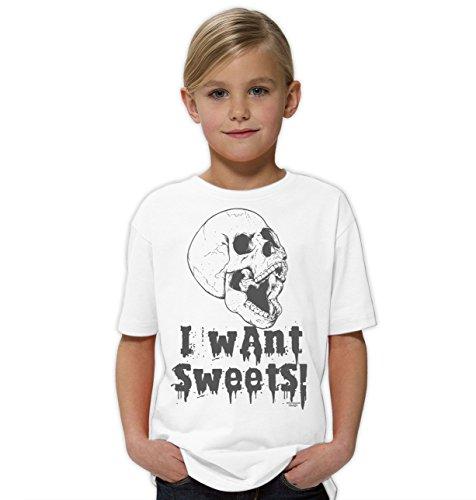 Halloween-Kostüm-Kinder-Jugend-Fun-T-Shirt Gruselig witziges Shirt für Kids Mädchen Girlie I Want Sweets Geister Gespenster Kürbis Outfit Geschenk Idee Farbe: Weiss Gr: 134/146