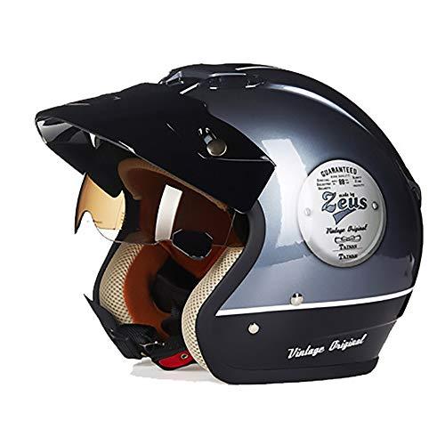LJJ Fahrradhelm für Erwachsene, Eisen-Grau/Schwarz, ABS, für Elektroauto/Motorrad-Helm, XXL