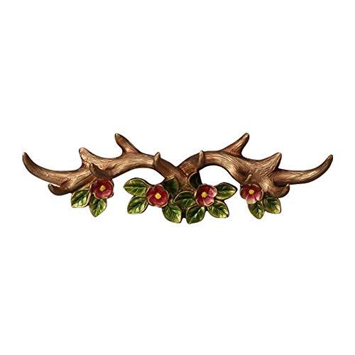 Xyanzi Percheros Gancho de Pared de Cabeza de Ciervo, Perchero Decorativo para Colgar Sombrero Bufanda Bolsa Ropa Clave Baño Cocina Toallero Reno de Navidad (Color : Champagne, Size : 40x13cm)