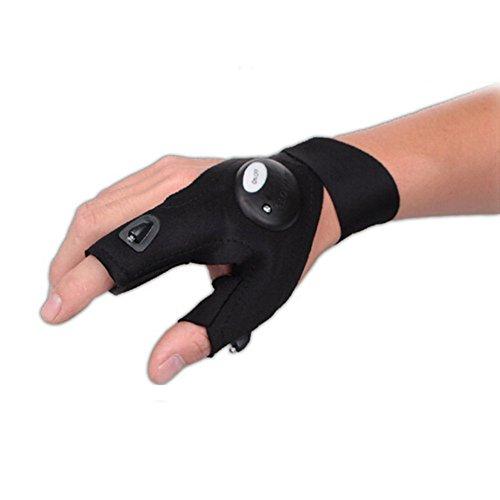 FLYING_WE LED Taschenlampe Fingerlose Handschuhe, LED Magic Strap Handschuhe mit 2 LED-Licht zum Angeln, Camping, Reparieren, Arbeiten in der Dunkelheit Orte und Outdoor-Aktivitäten. (Linke Hand) Coole Handschuhe