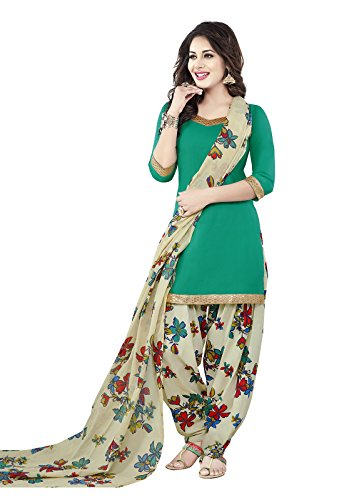 Ishin Women's Synthetic Green & White Bollywood Printed Unstitched Salwar Suit Dress Material (Anarkali/Patiyala) With Dupatta  available at amazon for Rs.399