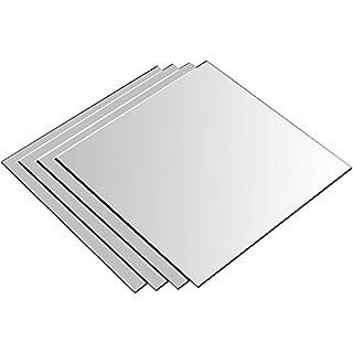 Ardisle, Spiegel-Set, Glas, selbstklebend, zur Wandmontage, für Badezimmer/Küche/Schlafzimmer, Spiegelfliesen, Set Of 4 Mirror Tiles