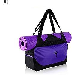 Longzhuo - Mochila Multifuncional para Yoga, Impermeable, Bolsa de Deporte y Gimnasio, Bolsa de Deporte, Morado