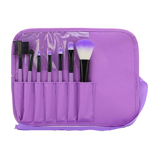 7 Makeup Augenpinsel - Beauty Pinsel Set zum Verblenden von Lidschatten, Kosmetik Puder, Highlighter und Concealer - Lidschattenpinsel und Schminkpinsel,Lila,7 Stück