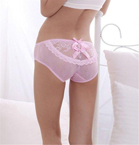 YALL-Wäsche-Spitze Netz hohlen Normallack niedrige Taille Unterwäsche Slips Pink
