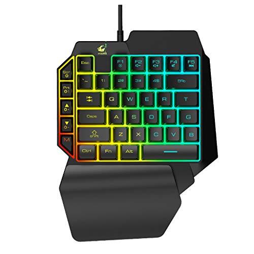 Pwtchenty- T15 Gaming-Tastatur, kabelgebunden, mit LED-Hintergrundbeleuchtung, Membran, 39 Tasten, Mechanik, Profi-Gamer, kabelgebunden, farbige Hintergrundbeleuchtung, Slim Hand Artefact Silber B -