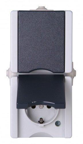 947556008 Pro AQA Aufputz-Feuchtraum Schalterprogramm Schutzkontakt-Steckdose 2-fach mit Deckel senkrecht